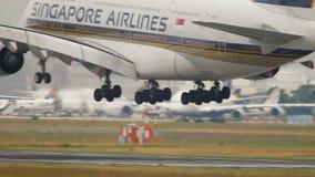 Vliegtuig die in Frankfurt landen stock videobeelden