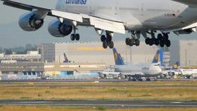 Vliegtuig die in Frankfurt landen stock footage