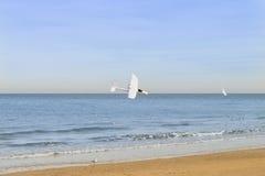Vliegtuig die met afstandsbediening in de hemel, boven het overzees vliegen Royalty-vrije Stock Foto
