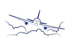 Vliegtuig die onder wolken vliegen stock illustratie