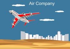 Vliegtuig die op blauwe hemel onder de wolken vliegen, reisconcept royalty-vrije illustratie