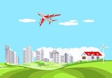 Vliegtuig die op blauwe hemel onder de wolken vliegen, reisconcept vector illustratie