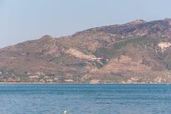 Vliegtuig die op het Eiland van Zakynthos landen Stock Fotografie