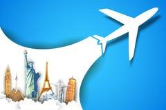 Vliegtuig die op Reisachtergrond nemen Royalty-vrije Stock Afbeelding