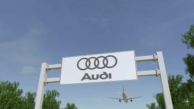 Vliegtuig die over de reclame van aanplakbord met Audi-embleem vliegen Het redactie 3D teruggeven Royalty-vrije Stock Afbeeldingen