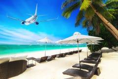 Vliegtuig die over verbazend tropisch strand vliegen Stock Afbeeldingen