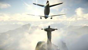Vliegtuig die in Rio de Janeiro en Christus aankomen de Verlosserlengte royalty-vrije illustratie