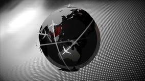 Vliegtuig die rond aarde op textuurachtergrond vliegen vector illustratie