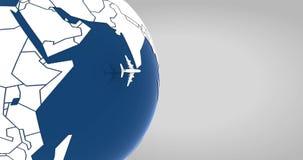 Vliegtuig die rond de wereld vliegen vector illustratie