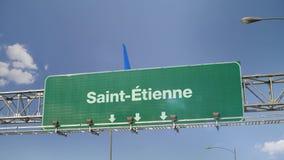 Vliegtuig die Saint-Etienne het Frans landen vector illustratie