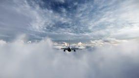 Vliegtuig die tussen wolkenlengte vliegen stock videobeelden
