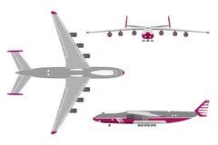 Vliegtuig in een vlakke stijl op witte achtergrond Hoogste mening, voorzijde vi stock illustratie
