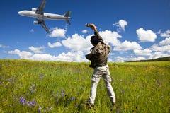 Vliegtuig en bloem royalty-vrije stock afbeelding