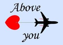Vliegtuig en hart Stock Fotografie