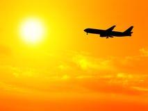 Vliegtuig en hemel Royalty-vrije Stock Afbeelding