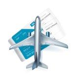 Vliegtuig en luchtvaartlijn geïsoleerde kaartjes Stock Foto's