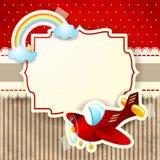 Vliegtuig en regenboog op kartonachtergrond Stock Afbeeldingen