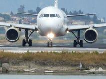 Vliegtuig en reiger Royalty-vrije Stock Foto