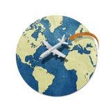Vliegtuig en schaduw gerecycleerde document ambacht Stock Afbeelding