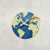 Vliegtuig en schaduw gerecycleerde document ambacht Stock Foto's