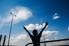 Vliegtuig en silhouetvrouw op de hemelachtergrond Landschap van een stad met een meisje die zich met opgeheven wapens bevinden en stock foto's