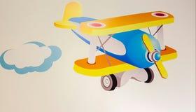 Vliegtuig en wolkendecoratie Royalty-vrije Stock Fotografie