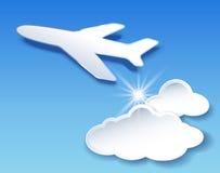 Vliegtuig en wolkenhemel Royalty-vrije Stock Fotografie