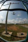 Vliegtuig in fisheye royalty-vrije stock afbeeldingen
