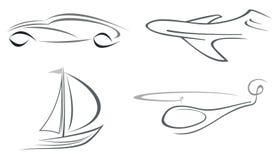 Vliegtuig, helikopter, auto en jacht Royalty-vrije Stock Afbeelding