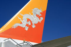 Vliegtuig - Internationale luchthaven - Paro - Bhutan Stock Afbeeldingen