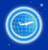 Vliegtuig met aarde en sterren Royalty-vrije Stock Afbeeldingen