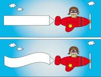 Vliegtuig met banner Royalty-vrije Stock Foto's