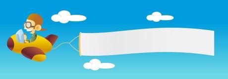 Vliegtuig met banner Stock Afbeeldingen