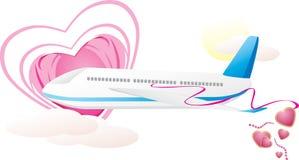 Vliegtuig met harten. Romaanse samenstelling Royalty-vrije Stock Afbeeldingen