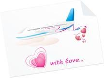 Vliegtuig met harten. Spatie van bericht Stock Foto's