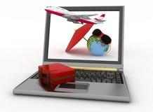 Vliegtuig met koffer, bol en paraplu op laptop het scherm Reis en Vakantieconcept Stock Fotografie