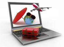 Vliegtuig met koffer, bol en paraplu op laptop het scherm Reis en Vakantieconcept Stock Afbeelding