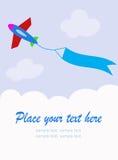Vliegtuig met lege hemelbanner Stock Foto's