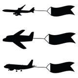 Vliegtuig met vlaggen vectorillustratie Stock Foto
