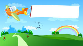 Vliegtuig met witte banner Stock Afbeeldingen