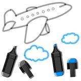 Vliegtuig met wolken en tellers Royalty-vrije Stock Foto