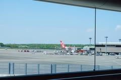 Vliegtuig in Narita internationale luchthaven royalty-vrije stock foto's