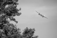 Vliegtuig op airshow stock afbeelding