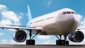 Vliegtuig op baan Stock Afbeelding