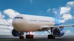 Vliegtuig op baan Royalty-vrije Stock Afbeelding