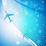 Vliegtuig op blauwe achtergrond Stock Foto