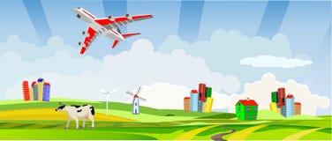 Vliegtuig op de hemelweg, platteland, vector illustratie