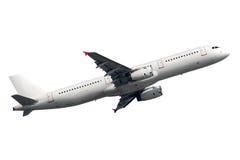 Vliegtuig op een witte achtergrond wordt geïsoleerd die Stock Foto's