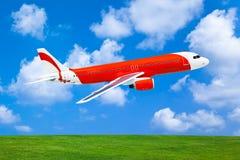 Vliegtuig op hemelachtergrond Stock Foto's