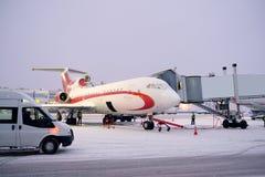 vliegtuig op luchthaven Domodedovo Royalty-vrije Stock Afbeeldingen